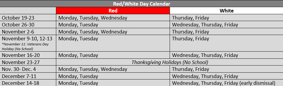 2nd 9 Weeks Red & White Day Schedule
