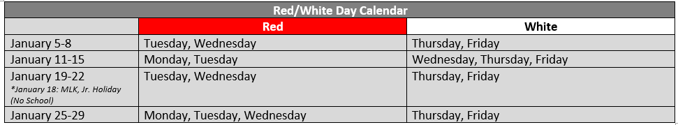 3rd 9 Weeks Red & White Day Schedule