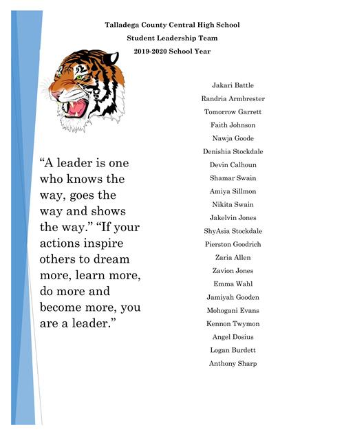 List of students who made leadership team.