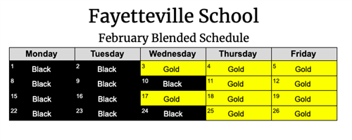 February Blended Schedule