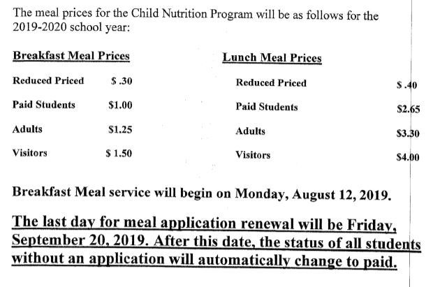 2019-2020 Meal Prices