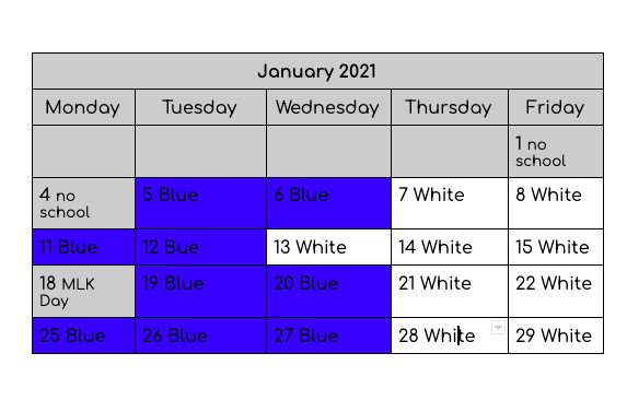January 2021 Blended Schedule