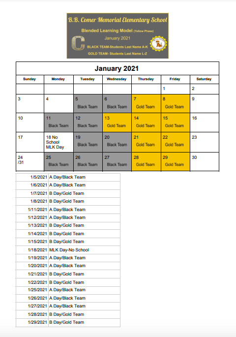 January  Blended Schedule